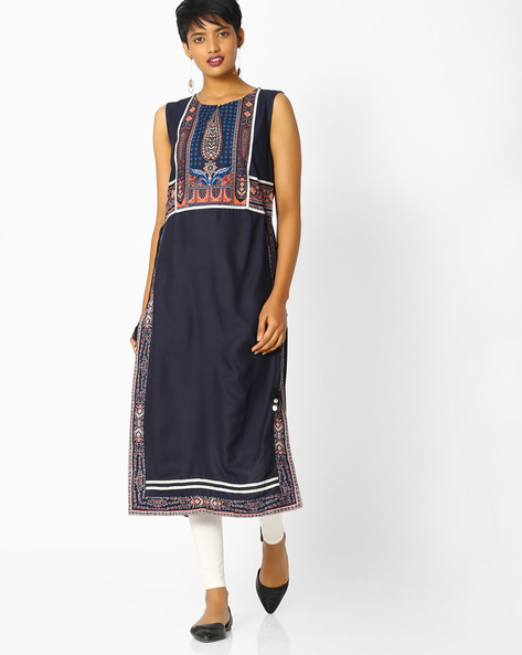 Printed Straight Kurta With Tassel Tie-Up By W ( Blue )