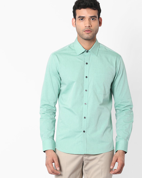 Regular Fit Shirt With Patch Pocket By NETWORK ( Green )