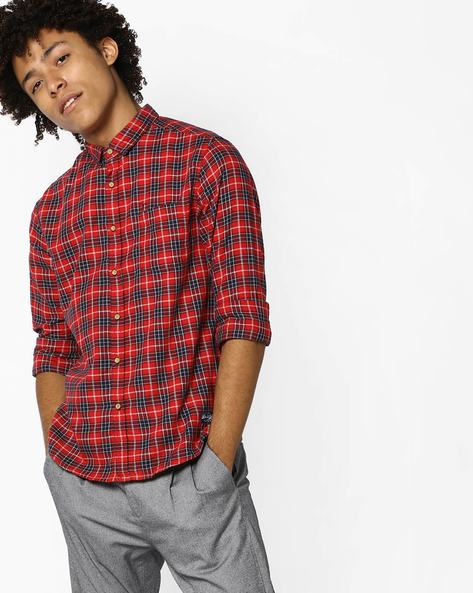 Checked Slim Fit Shirt With Patch Pocket By FLYING MACHINE ( Red ) - 460100828002