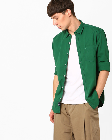Slim Fit Shirt With Curved Hem By Killer ( Lightgreen )