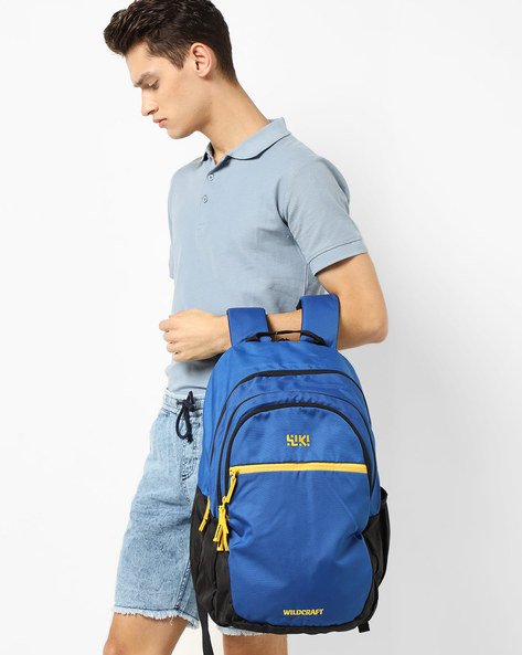 Colourblock Backpack With Brand Print By Wildcraft ( Blue ) - 460169402002
