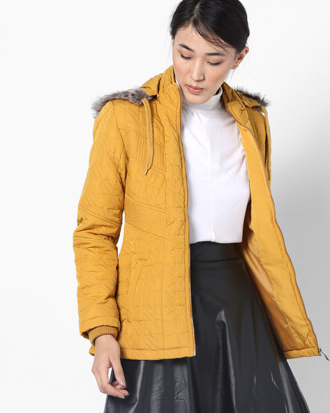 Hooded Quilted Jacket By Fort Collins ( Yellow )