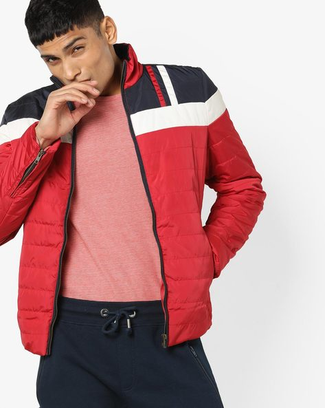 Colourblock Quilted Jacket By DUKE ( Red )