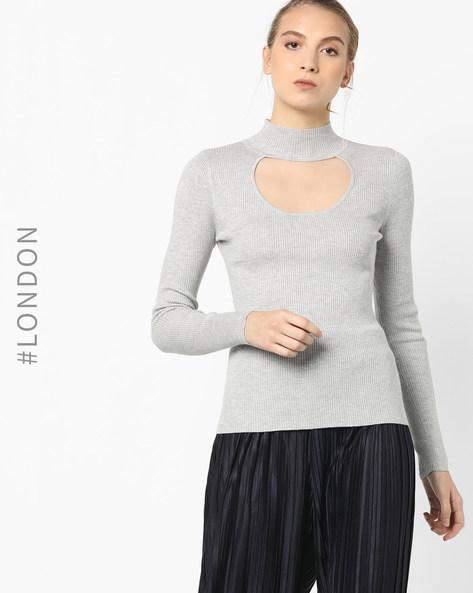 Ribbed Top With Choker Neckline By Glamorous ( Grey )