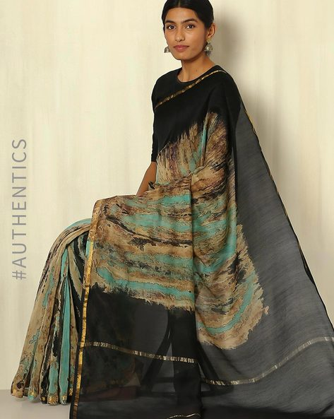 Shibori Tie & Dye Chanderi Saree With Zari Border By Indie Picks ( Multi ) - 460053721001