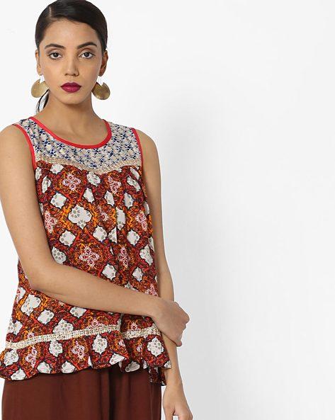 Printed Sleeveless Top By Akkriti By Pantaloons ( Multi )