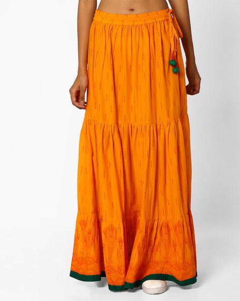 Panelled Maxi Skirt By Omya ( Orange )