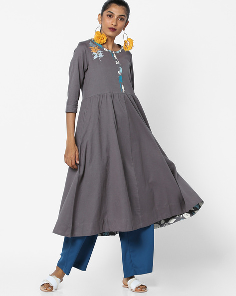 A-line Dress With Embroidery By AJIO ( Charcoal )