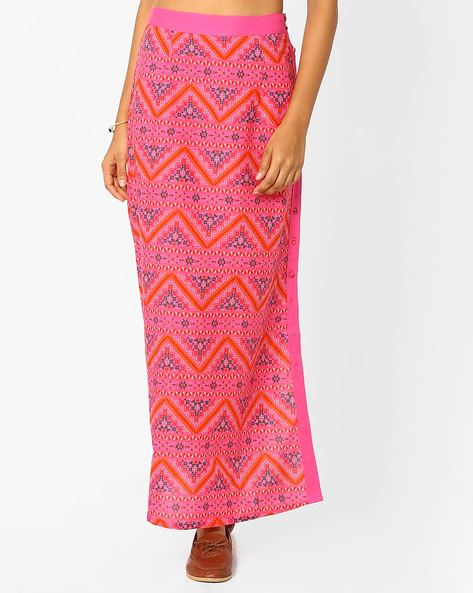 Printed Skirt With Button Closure By AJIO ( Pink )