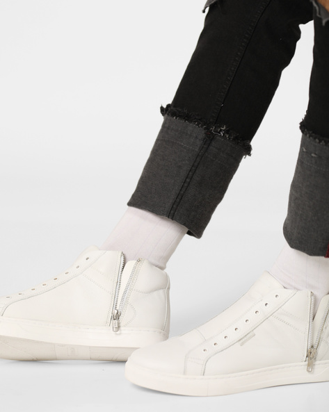 Neptune Mid-Top Shoes With Side Zipper By Jack & Jones ( White )