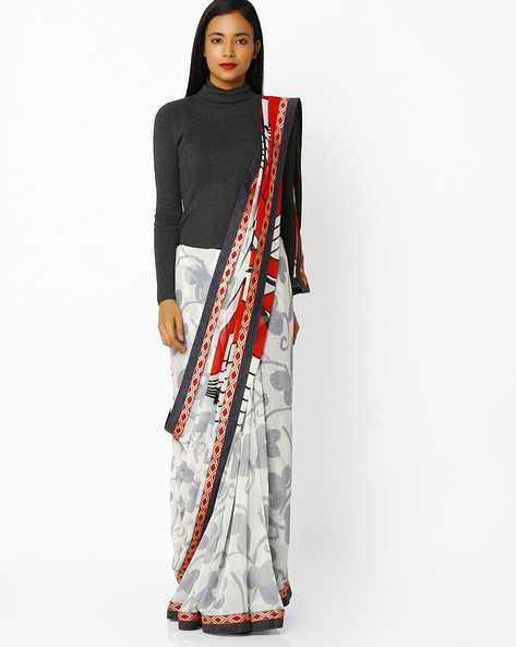 Printed Saree With Contrast Border By Florence ( White )
