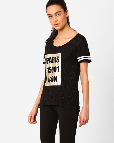 Printed High-Low T-shirt By AJIO ( Black )