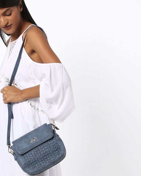 Sling Bag With Embossed Pattern By E2O ( Blue )