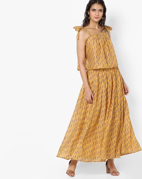 Printed Tie-up Crop Top With Flared Skirt By AJIO ( Yellow )
