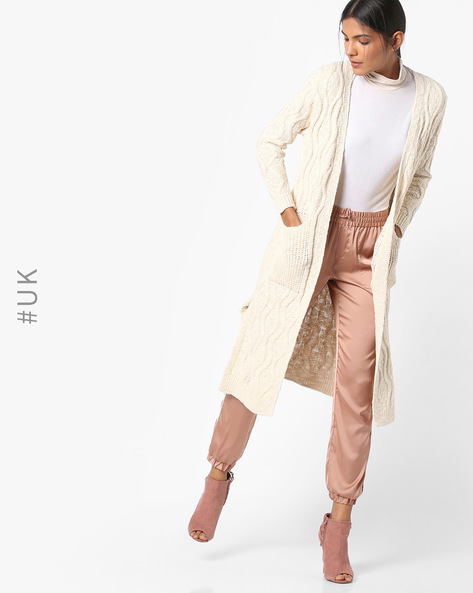 Open-Front Long Cardigan With Pockets By INFLUENCE ( Cream )