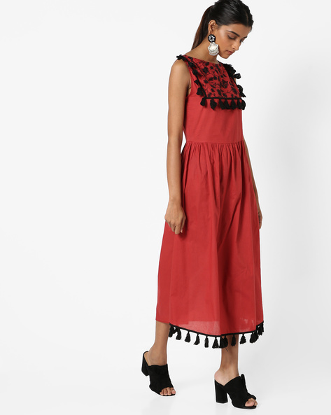 A-line Dress With Embroidered Yoke By Rena Love ( Rust )