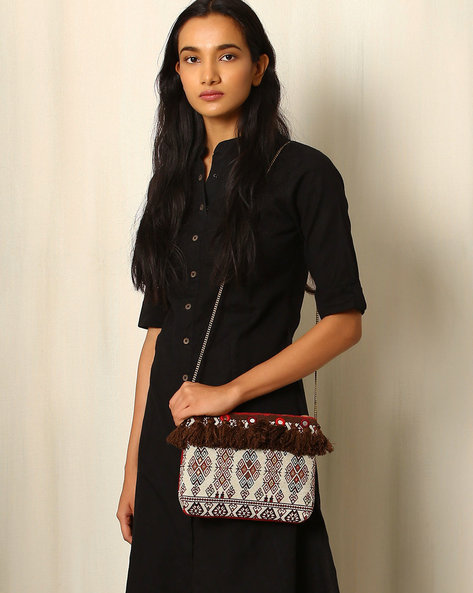 Cotton Jacquard Sling Bag By Indie Picks ( Brown )