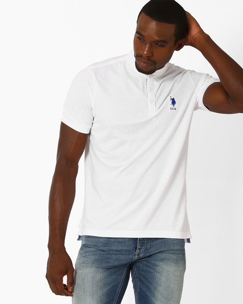 Muscle Fit Henley T-Shirt By US POLO ( White )