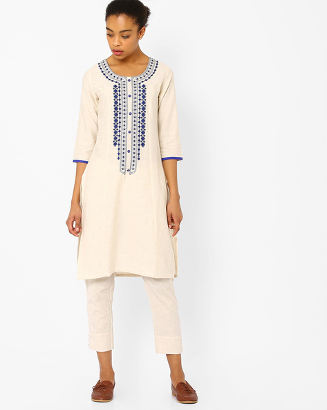 Embroidered Straight Kurta By AVAASA MIX N' MATCH ( Blue )