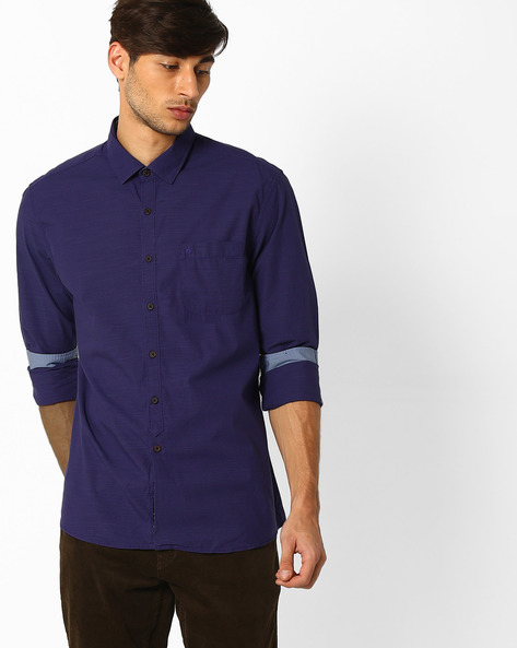 Cotton Shirt With Patch Pocket By NETPLAY ( Purple )