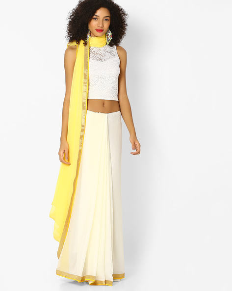 Chiffon Saree With Contrast Border By Vastrangi ( Yellow )