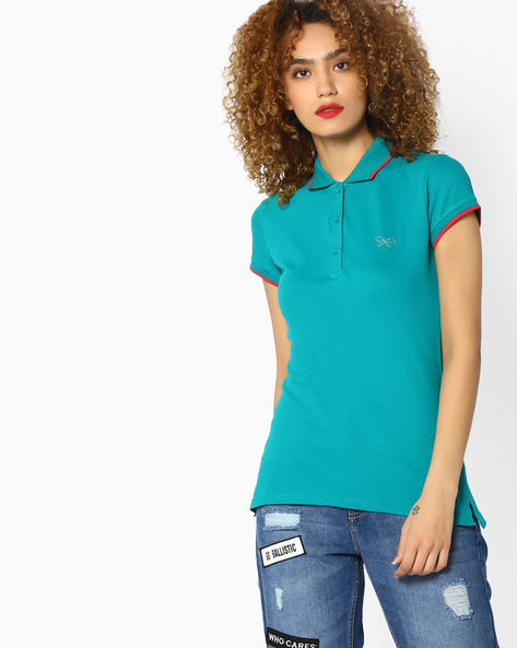 Polo T-shirt With Contrast Tipping By BOSSINI ( Teal )