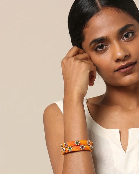 Pure Silk Hand-Embroidered Zardosi Bangle Set By PADMAHASTHA ( Yellow )