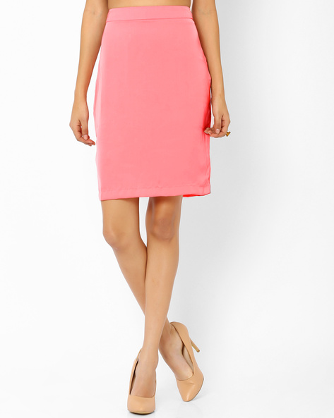 Pencil Skirt With Back Slit By AJIO ( Pink )