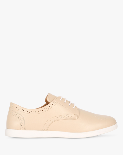 Lace-Up Shoes With Laser Cut-Outs By AJIO ( Beige )