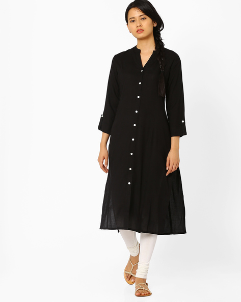 Kurta With Front Slit By AJIO ( Black )