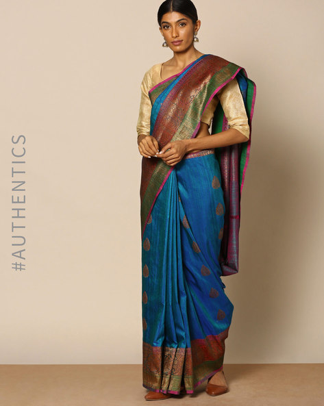 Pure Silk Banarasi Buta Antique Zari Saree By Rudrakaashe-MSU ( Blue )
