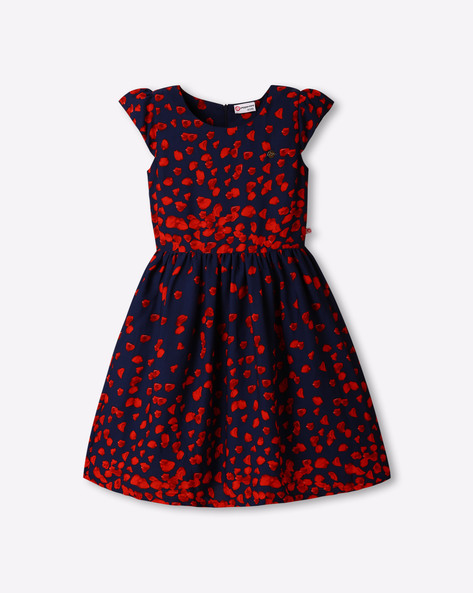 Printed Dress With Cap Sleeves By Peppermint ( Red )