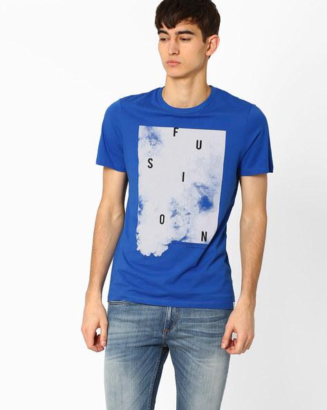 Graphic Print Crew-Neck Slim T-shirt By Jack & Jones ( Blue )