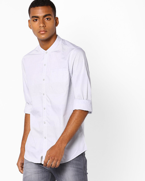 Slim Shirt With Mandarin Collar By Lee ( Blue )