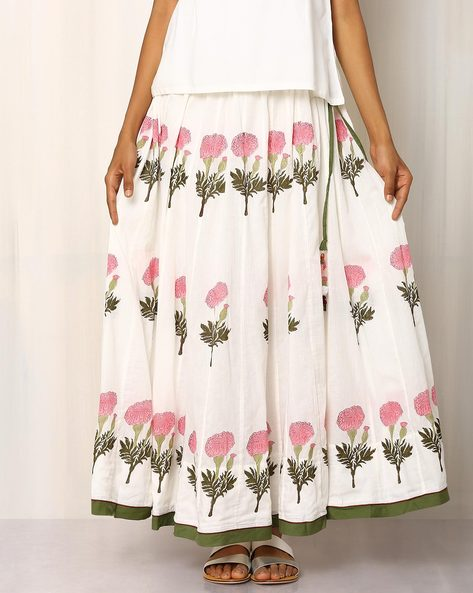 Handblock Print Cotton Long Skirt By Pink Lemon ( White )