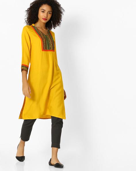 Printed Straight Kurta By Aaboli ( Mustard )