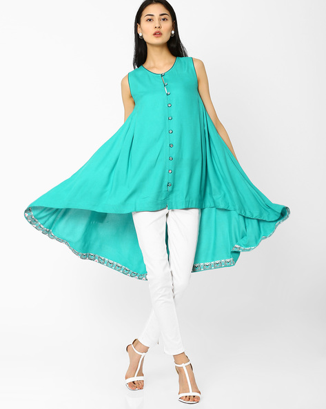 Trapeze High-Low Tunic By AJIO ( Teal )