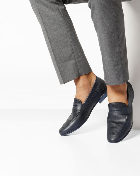 Textured Penny Loafers By Modello Domani ( Navy )