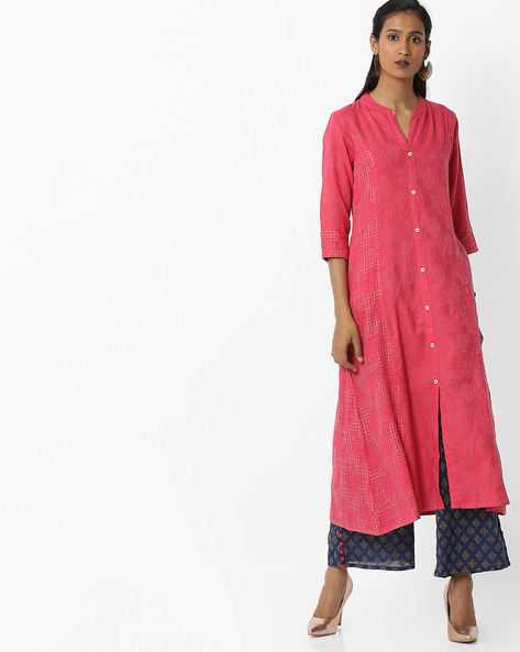 A-line Kurta With Front-Slit Hem By AVAASA MIX N' MATCH ( Coral )