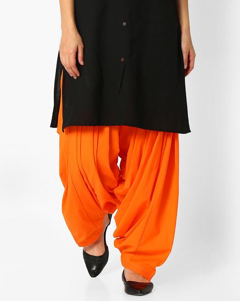 Cotton Patiala Pants By Stylenmart ( Orange )