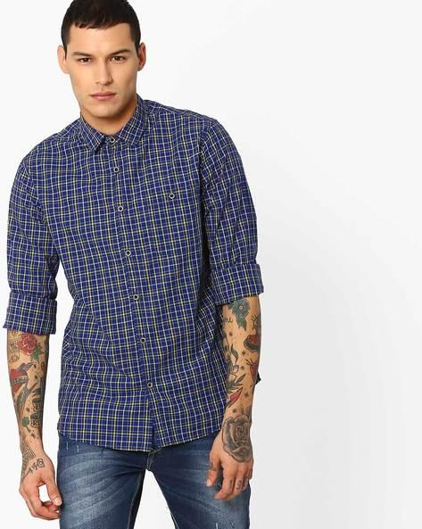 Yarn-Dyed Checked Shirt By AJIO ( Blue )
