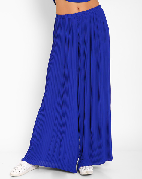 Pleated Palazzo Pants By AJIO ( Blue )
