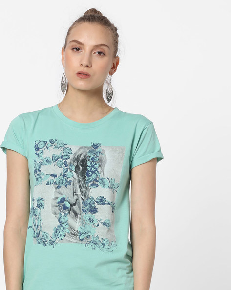 Graphic Print Crew-Neck T-shirt By Pepe Jeans ( Green )