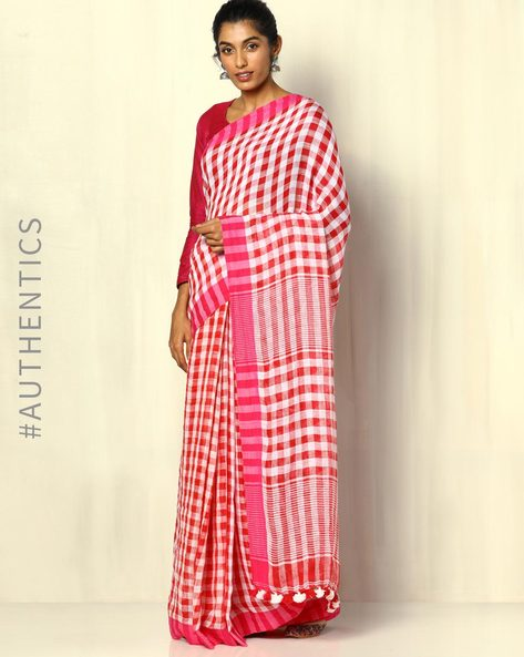Handloom Bengal Pure Linen Checked Saree With Tassels By Indie Picks ( Multicolour ) - 460107174001