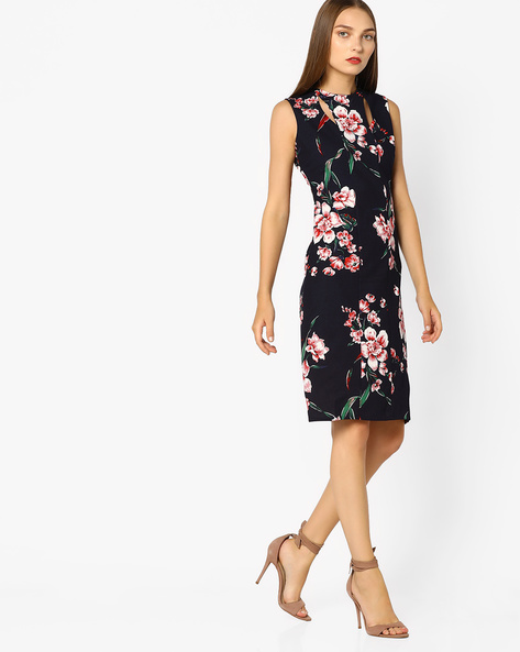 Floral Print Bodycon Dress With Cut-Out By AJIO ( Red )