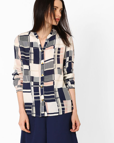 Printed Shirt With Mandarin Collar By AJIO ( Navyblue )
