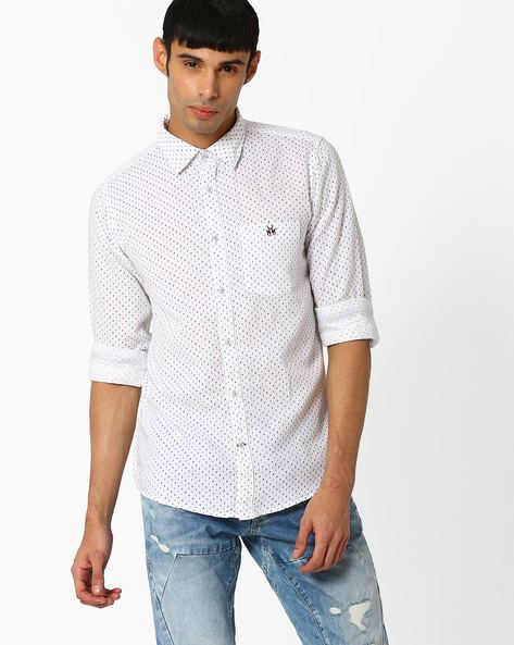 Printed Slim Fit Shirt By CRIMSOUNE CLUB ( White ) - 440725433005