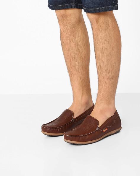 Perforated Genuine Leather Slip-Ons By Lee Cooper ( Brown )