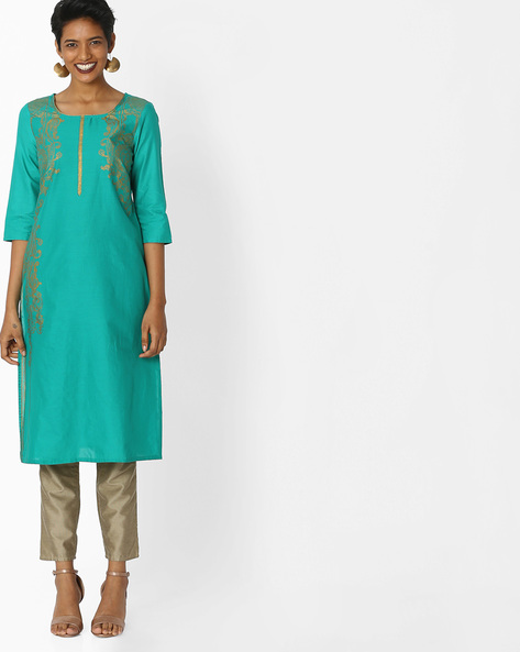Printed Round-Neck Kurta By AURELIA ( Green )