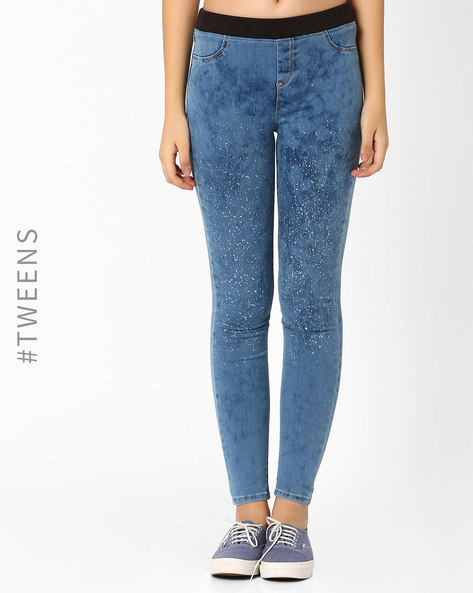 Skinny Ankle Length Jeggings By AJIO ( Blue )